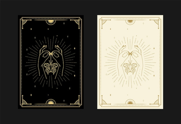 Conjunto de cartas de tarô místicas símbolos alquímicos doodle gravura de estrelas, mariposa, borboletas, cristais