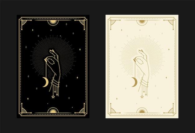 Conjunto de cartas de tarô místicas símbolos alquímicos doodle gravura de estrelas, raios de lua e cristais