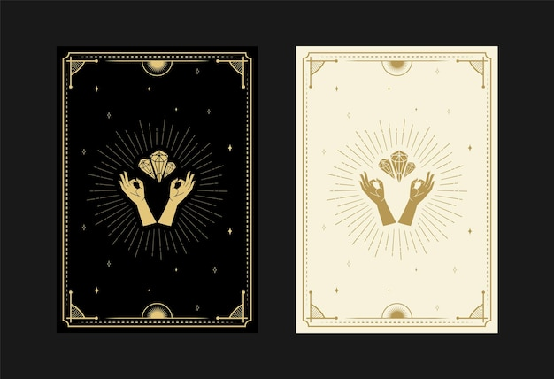 Conjunto de cartas de tarô místicas símbolos alquímicos doodle gravura de estrelas raios e cristais de diamante