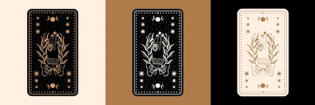 Conjunto de cartas de tarô místicas