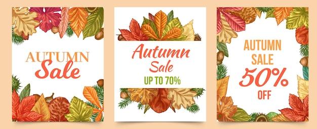 Conjunto de cartas de venda de outono