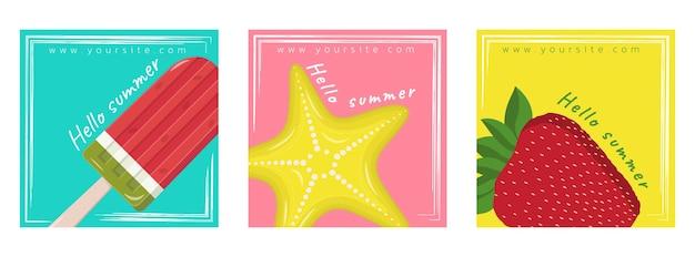 Conjunto de cartas de verão com sorvete de morangos e estrela do mar