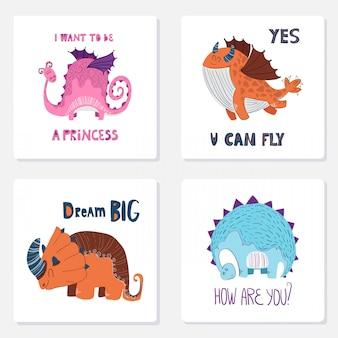 Conjunto de cartas. desenhos animados dino e letras