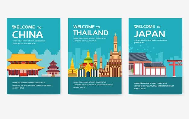 Conjunto de cartas do país dos eua, inglaterra, china, frança, rússia, tailândia, japão, itália.