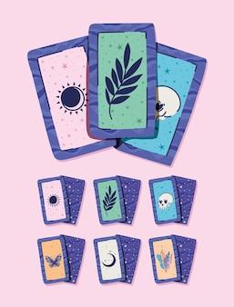 Conjunto de cartas esotéricas em um desenho de ilustração rosa