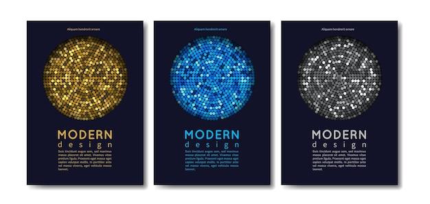Conjunto de cartas moderno. modelos de convite brilhantes abstratos com elementos de ouro e prata.