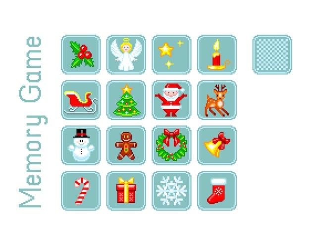 Conjunto de cartas para jogo de memória com elementos de natal no estilo pixel-art.