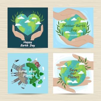 Conjunto de cartas para o dia da mãe terra