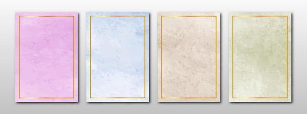 Conjunto de cartas pintadas à mão minimalistas. fundo de textura em aquarela.