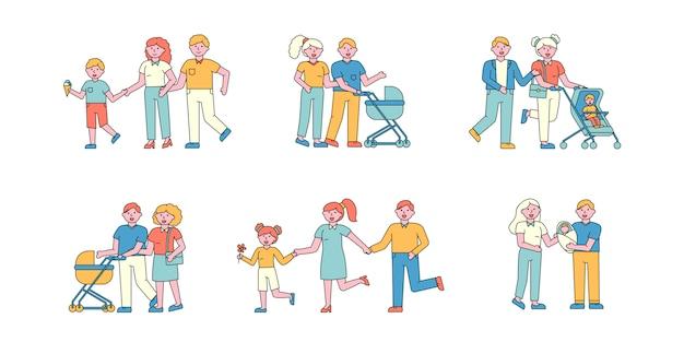 Conjunto de cartas planas de passatempo familiar. pessoas caminhando ao ar livre.