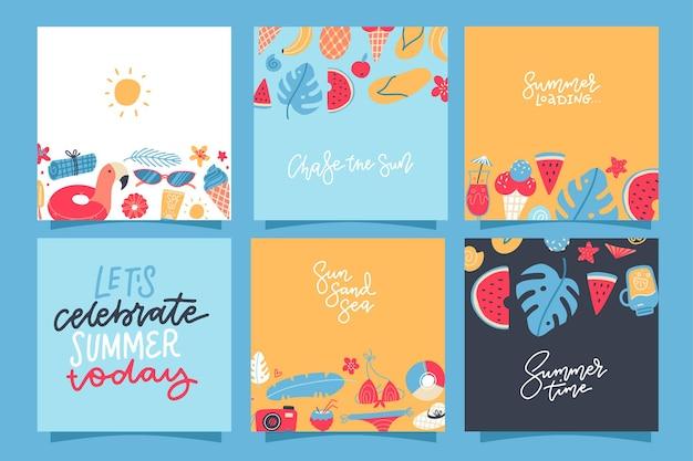 Conjunto de cartas quadradas de verão criativo. cartaz, cartaz, folheto com abacaxi, melancia, limão, sorvete, folhas de palmeira, coquetéis plana mão desenhada ilustração.