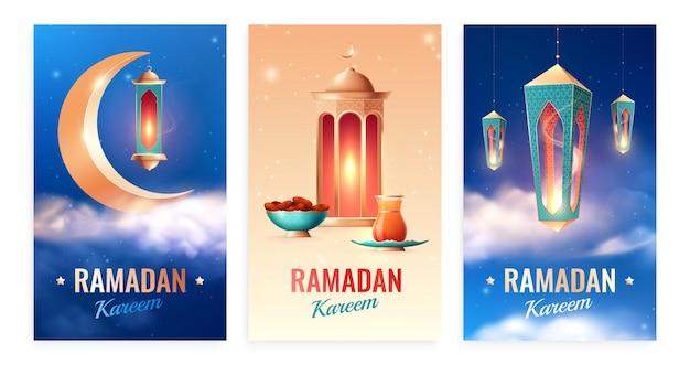 Conjunto de cartas realistas de ramadã com três composições verticais com céu