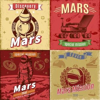 Conjunto de cartas vintage coloridas de pesquisa espacial