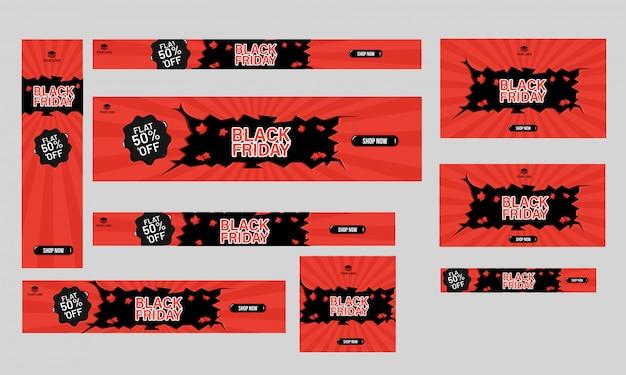 Conjunto de cartaz, banner e modelo de design plano de 50% de desconto offe