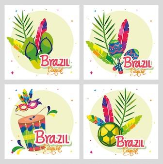 Conjunto de cartaz carnaval brasil com decoração