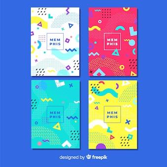 Conjunto de cartaz colorido memphis estilo