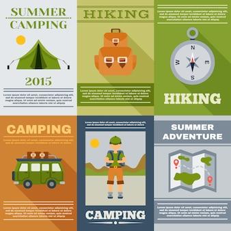 Conjunto de cartaz de acampamento