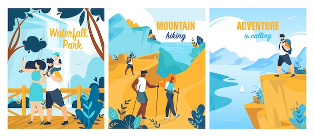 Conjunto de cartaz de aventuras de verão