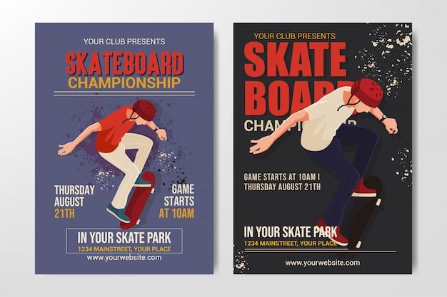 Conjunto de cartaz de campeonato de skate, retrô simples