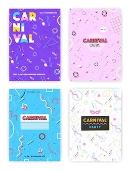 Conjunto de cartaz de carnaval. abstrato memphis 80s, 90s style retro background collection com lugar para texto.