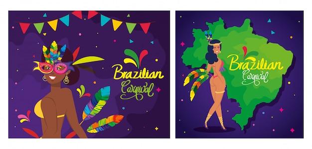 Conjunto de cartaz de carnaval do brasil com decoração