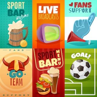 Conjunto de cartaz de cartões de barra de esporte