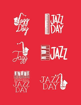 Conjunto de cartaz de dia de jazz de modelos