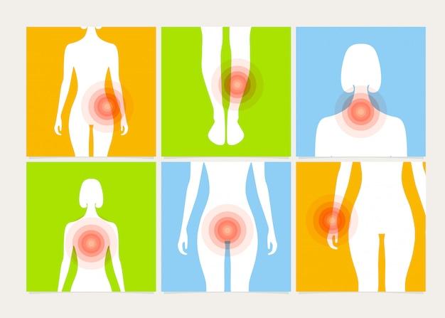 Conjunto de cartaz de dor no rim, perna, braço, peito, coração, pescoço e garganta.