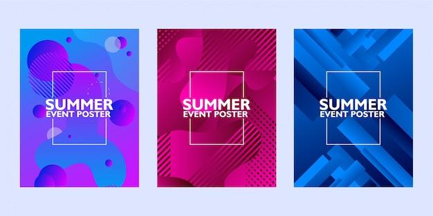 Conjunto de cartaz de evento de verão com forma abstrata em fundo colorido