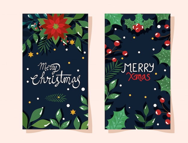 Conjunto de cartaz de feliz natal com flores e folhas