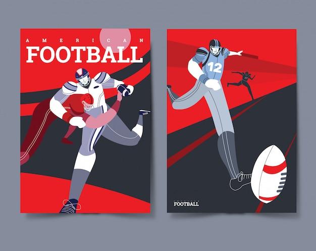 Conjunto de cartaz de jogador de futebol americano
