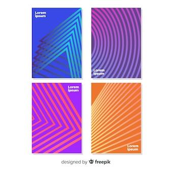 Conjunto de cartaz de linhas geométricas coloridas