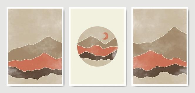 Conjunto de cartaz de paisagem abstrata