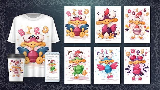 Conjunto de cartaz de pássaro fofo e merchandising