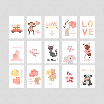 Conjunto de cartaz de pássaros e animais