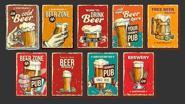 Conjunto de cartaz de publicidade de coleção de cerveja
