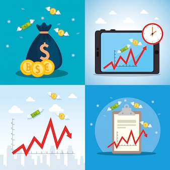 Conjunto de cartaz de queda do mercado de ações com ícones