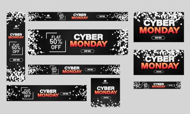 Conjunto de cartaz de venda cyber segunda-feira, banner e modelo de design com