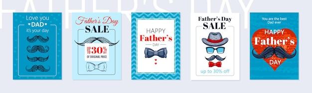 Conjunto de cartaz do dia dos pais feliz.