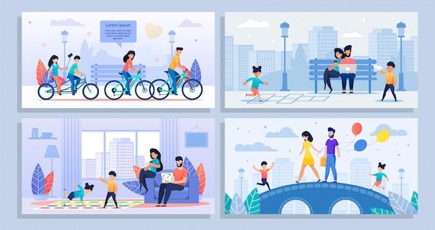 Conjunto de cartaz dos desenhos animados com várias atividades em família