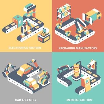 Conjunto de cartaz isométrica plana de automação de fábrica