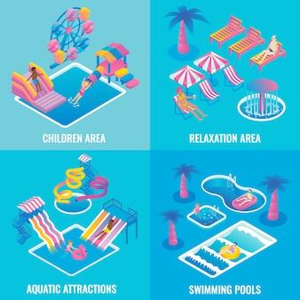 Conjunto de cartaz isométrica plana de parque aquático