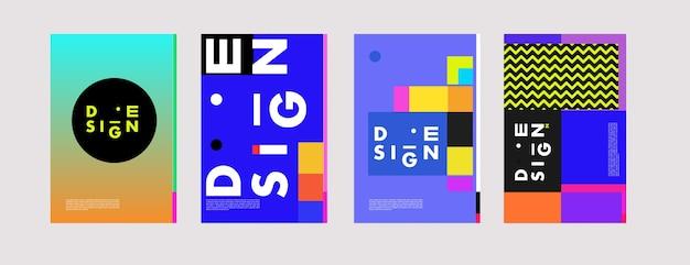 Conjunto de cartaz minimalista de design de memphis