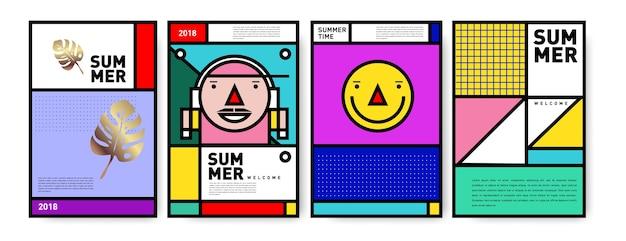 Conjunto de cartaz minimalista de verão memphis