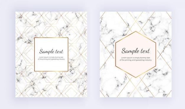 Conjunto de cartaz minimalista, textura de mármore branco com moldura e linha de ouro