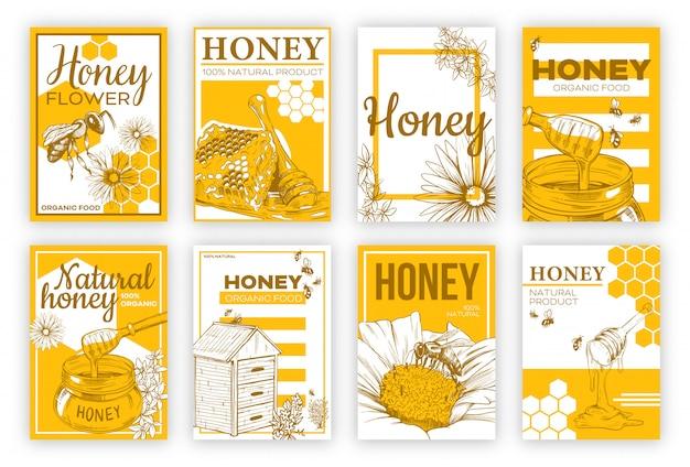 Conjunto de cartaz plana de esboço de mel