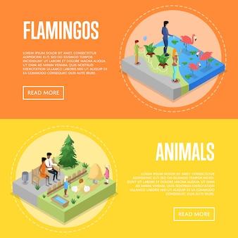 Conjunto de cartazes 3d isométrica de zoológico público