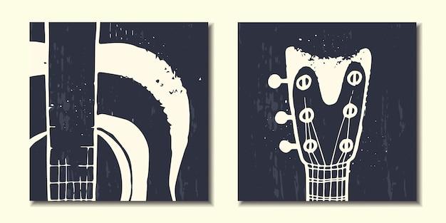 Conjunto de cartazes abstratos com instrumentos musicais guitarra abstrata