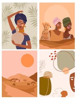 Conjunto de cartazes abstratos com uma mulher africana em um vaso de cerâmica com turbante e plantas, formas abstratas e paisagem. fundo em estilo minimalista