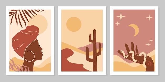 Conjunto de cartazes abstratos com uma mulher africana em uma paisagem de turbante, plantas a mão com o sol da lua da cobra